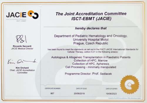 The Transplantation center received prestigious European accreditation JACIE